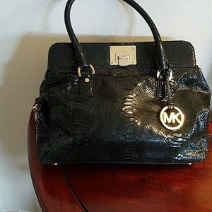 Michael Kors black embossed leather satchel
